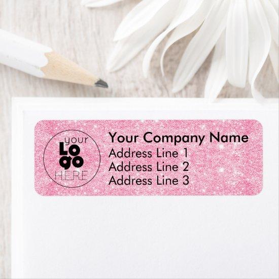 Hot Pink Glitter Business Logo Return Address Label