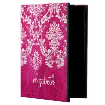 Hot Pink Grunge Damask Pattern Custom Monogram Powis iPad Air 2 Case