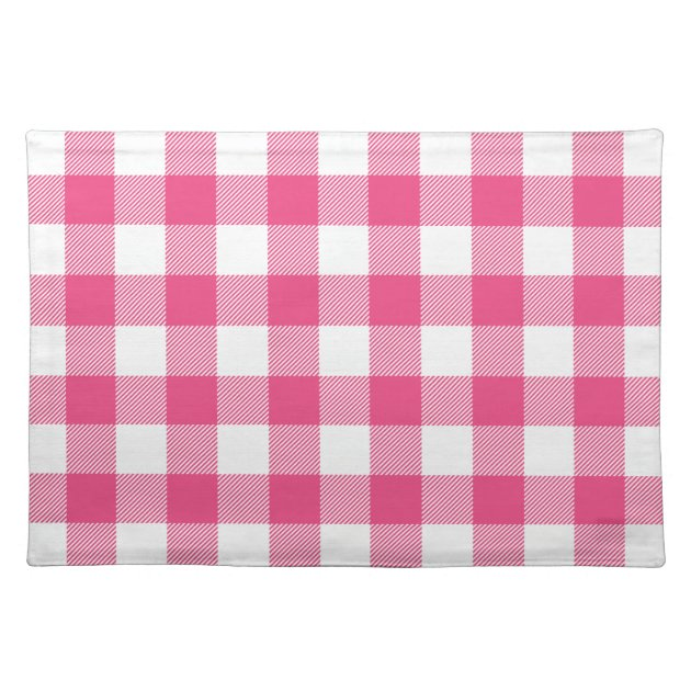 Hot Pink Preppy Buffalo Check Plaid Placemat
