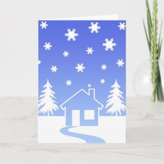 House and trees in winter card