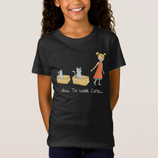 How to Walk a Cat Funny Dark T-Shirt