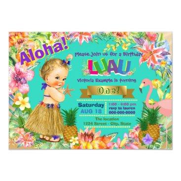 Hula Girl Flamingo Hawaiian Luau Birthday Party Invitation