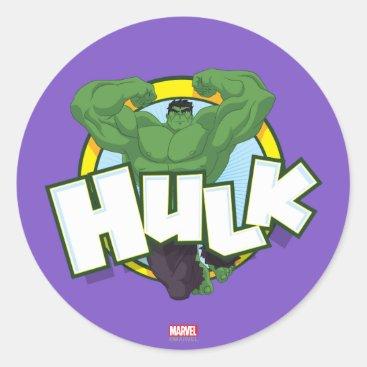 Hulk Character and Name Graphic Classic Round Sticker