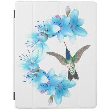 Hummingbird Bird Blue Lily Flower iPad Smart Cover