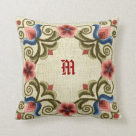 Hungarian Needlework Throw Pillow