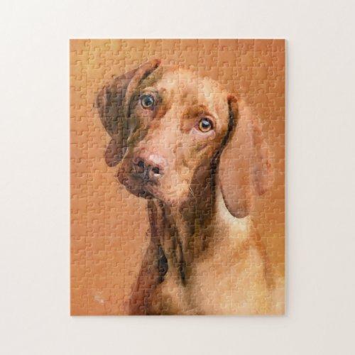 Hungarian Vizsla Dog Art | Closeup Jigsaw Puzzle