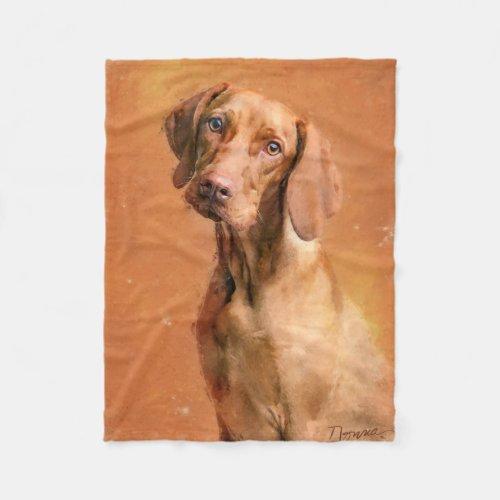 Hungarian Vizsla Dog Art Painting Fleece Blanket