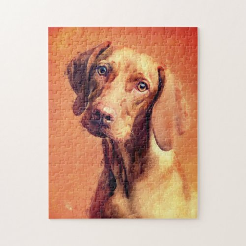 Hungarian Vizsla Dog Art Portrait Jigsaw Puzzle