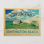 Huntington Beach Save The Date California Surf Announcement Postcard