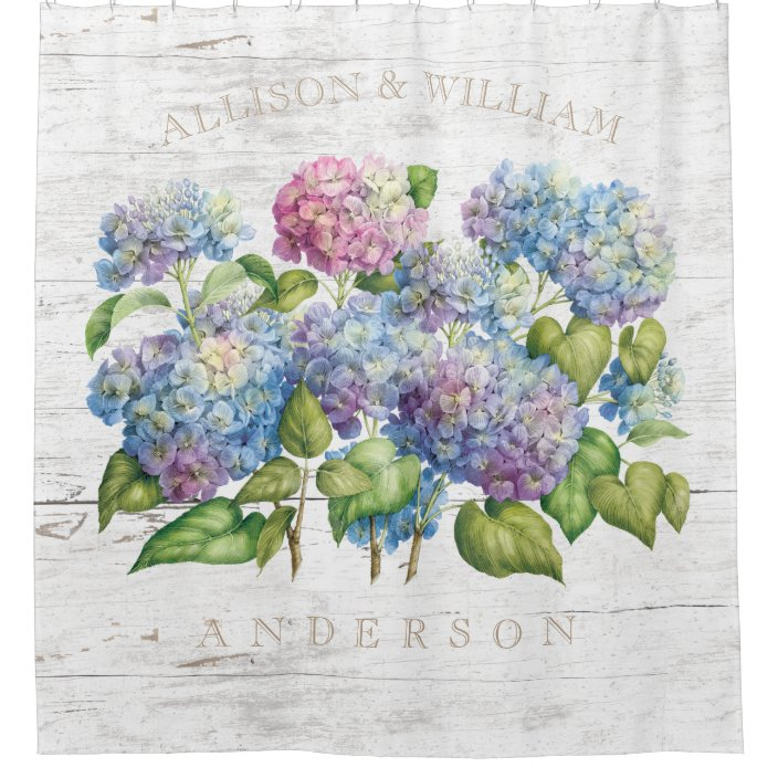 hydrangea blooms with wood add names shower curtain zazzle com