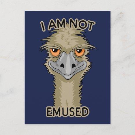 I Am Not Emused Funny Emu Pun Holiday Postcard