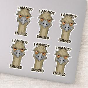 I Am Not Emused Funny Emu Set Contour Cut Sticker