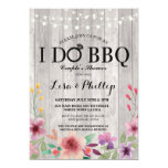 Pretty Pink Floral Shabby Chic I Do BBQ Invitation