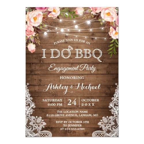 I DO BBQ Engagement Party Rustic Country Floral Invitation