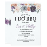 I Do BBQ Engagement Purple Cream Peach Florals Invitation