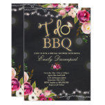 Pretty Pink Floral On Black I Do BBQ Invitation