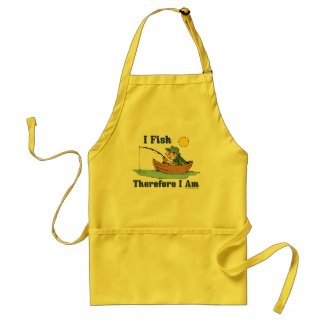I Fish, Therefore I Am Aprons