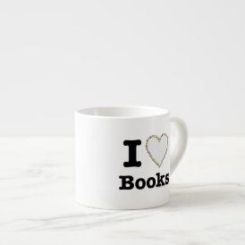 I Heart Books - I Love Books! Colorful Swirls Espresso Cup