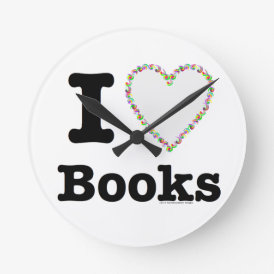 I Heart Books - I Love Books! Colorful Swirls Round Clock