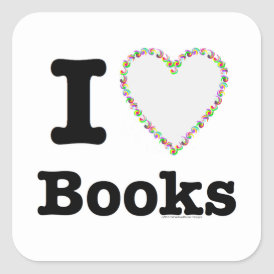 I Heart Books - I Love Books! Colorful Swirls Square Sticker
