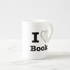 I Heart Books - I Love Books! Colorful Swirls Tea Cup
