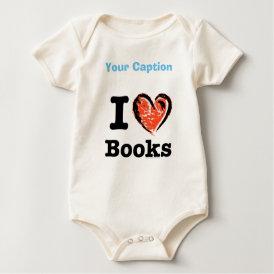 I Heart Books! I Love Books! (Crayon Heart) Baby Bodysuit