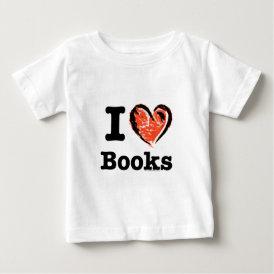I Heart Books! I Love Books! (Crayon Heart) Baby T-Shirt