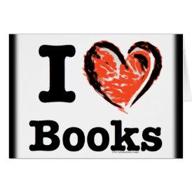 I Heart Books! I Love Books! (Crayon Heart) Card