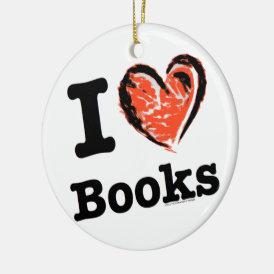 I Heart Books! I Love Books! (Crayon Heart) Ceramic Ornament