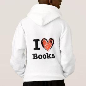 I Heart Books! I Love Books! (Crayon Heart) Hoodie
