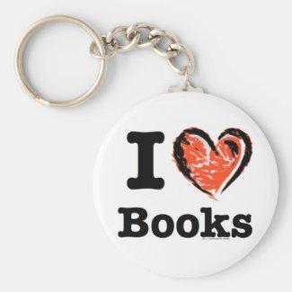 I Heart Books! I Love Books! (Crayon Heart) Key Chain
