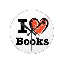I Heart Books! I Love Books! (Crayon Heart) Round Clock