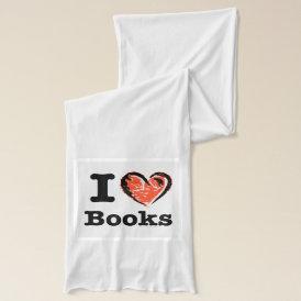 I Heart Books! I Love Books! (Crayon Heart) Scarf