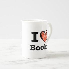 I Heart Books! I Love Books! (Crayon Heart) Tea Cup