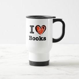 I Heart Books! I Love Books! (Crayon Heart) Travel Mug