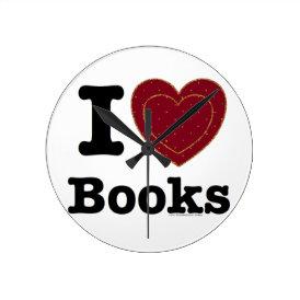 I Heart Books - I Love Books! (Double Heart) Round Clock