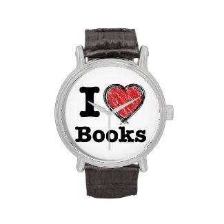 I Heart Books! I Love Books! (Scribbled Lines) Watches