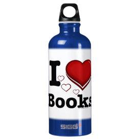 I Heart Books! I Love Books! (Shadowed Heart) Aluminum Water Bottle
