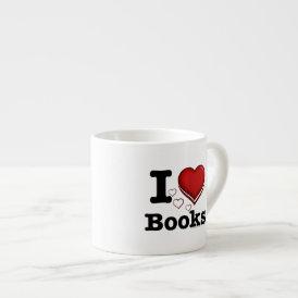 I Heart Books! I Love Books! (Shadowed Heart) Espresso Cup