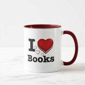 I Heart Books! I Love Books! (Shadowed Heart) Mug