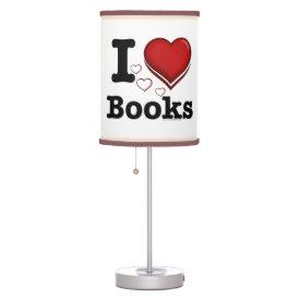 I Heart Books! I Love Books! (Shadowed Heart) Table Lamp