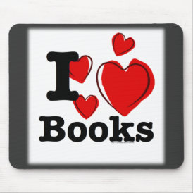 I Heart Books! I Love Books! (Sketchy Heart) Mouse Pad