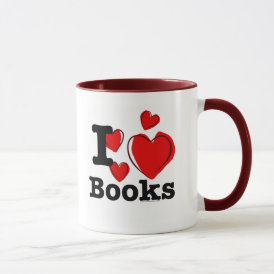 I Heart Books! I Love Books! (Sketchy Heart) Mug
