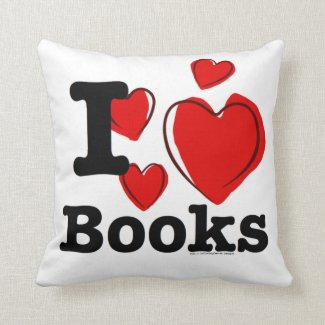 I Heart Books! I Love Books! (Sketchy Heart) Throw Pillows