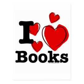 I Heart Books! I Love Books! (Sketchy Heart) Postcard