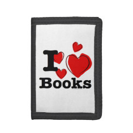I Heart Books! I Love Books! (Sketchy Heart) Tri-fold Wallets