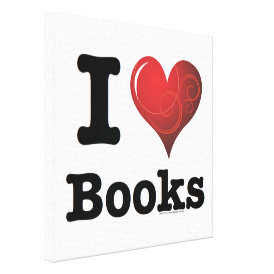 I Heart Books I Love Books! Swirly Curlique Heart Canvas Print