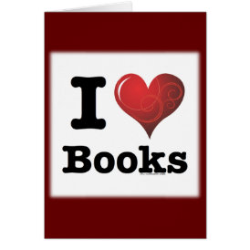 I Heart Books I Love Books! Swirly Curlique Heart Card