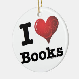 I Heart Books I Love Books! Swirly Curlique Heart Ceramic Ornament