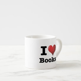 I Heart Books I Love Books! Swirly Curlique Heart Espresso Cup